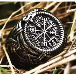 Stainless Steel Vegvisir Ouroboros Dragon Signet Ring