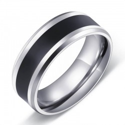 Stainless Steel Black Band Silver Ring