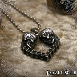 Stainless Steel Skulls Heart Necklace