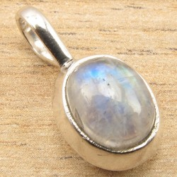 Rainbow Moonstone 925 Sterling Silver Pendant (no chain)