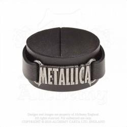 Alchemy Gothic HRWL444 Metallica: logo leather wristband