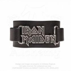 Alchemy Gothic HRWL447 Iron Maiden: logo leather wristband