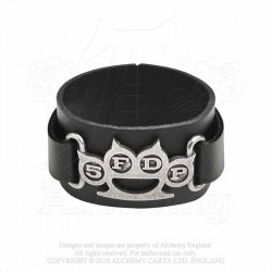 Alchemy Gothic HRWL448 5FDP: Knuckle Duster leather wristband