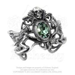 Last Chance! Alchemy Gothic A69 La Fleur de Baudelaire Pewter Bracelet - Green Swarovski