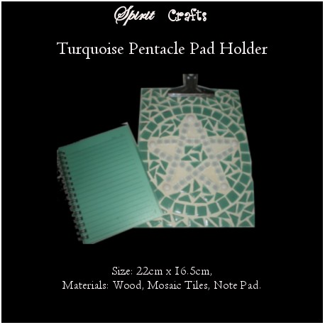 Note Pad Holder with Notepad Turquoise Pentacle