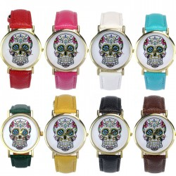 Sugar Skull Wrist Watch - Gold Face