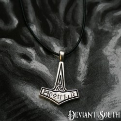 Deviant South Mjolnir Thor's Hammer Runes Pendant Necklace