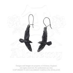 Alchemy Gothic E333 Black Raven Dropper Earrings (pair)