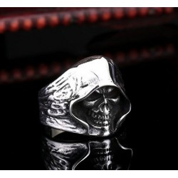 Stainless Steel Reaper Hooded Biker Death Skull Ring - Silver