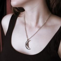 Alchemy Gothic P783 M'era Luna Crescens - Tragicom Moon pendant necklace