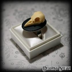 Deviant South Memento Mori Ring featuring 3D Bird Skull Cameo