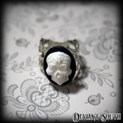 Sugar Skull Cameo Silver Ring - Small Cameo (18x13mm)
