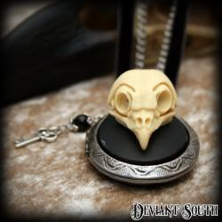 Deviant South Memento Mori Locket featuring 3D Owl Skull Cameo