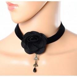 Gothic Velvet Small Black Rose Choker - Black