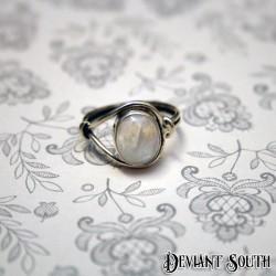 Sterling Silver Moonstone Oval Gemstone Ring