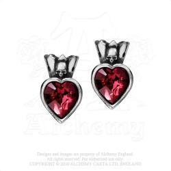 Last Chance! Alchemy Gothic E379 Claddagh Heart stud earrings (pair)
