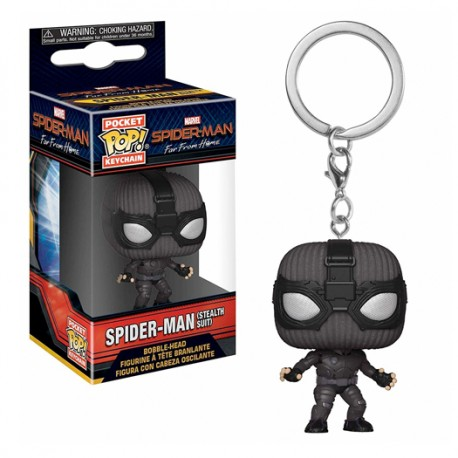 Funko Pocket Pop! Keychain: Spider-Man Far From Home - Spider-Man (Stealth Suit) Bobble-head