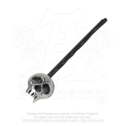 Alchemy Gothic HG1B Skully Hair Grip - Black (single)