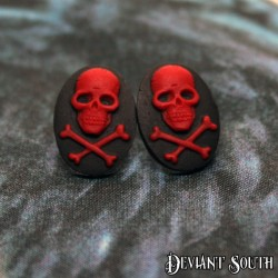 Deviant South Skull and Bones Cameo Black and Red Earring Studs