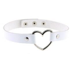 PU Leather Heart Choker Collar - White