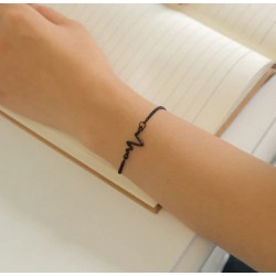 ECG Heart Rate Waves Bracelet - Black (petite wrist)