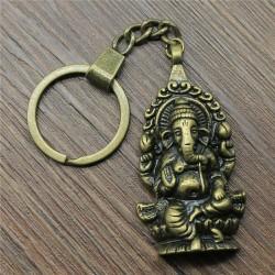Bronze Ganesha Buddha Elephant Key Chain