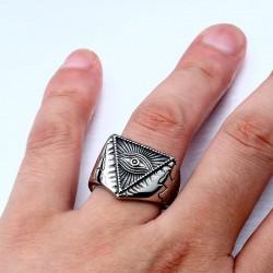 All-Seeing-Eye Illuminati Pyramid Cross Stainless Steel Adjustable Ring