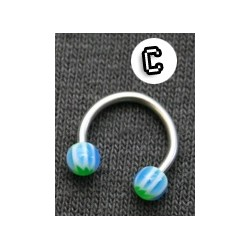 Circular Micro Barbell - Balls - Green Leaf with Blue Stripes