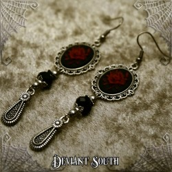 Deviant South 'A Thorn's Kiss' Red Rose Cameo Earrings (pair)