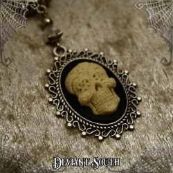 Deviant South 'Memento Mori' Sugar Skull Cameo Necklace