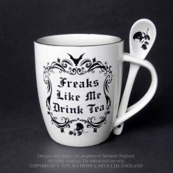 New Release! Alchemy Gothic ALMUG19 Freaks Like Me Drink Tea: Mug and Spoon Set