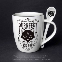 Alchemy Gothic ALMUG20 Purrfect Brew: Mug and Spoon Set