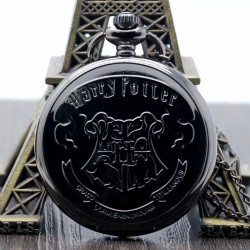 [On Demand] Harry Potter Hogwarts School Emblem Badge Black Fob Pocket Watch