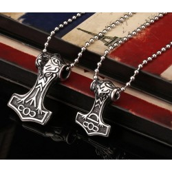 Thors Hammer Mjolnir 316L Steel Pendant Necklace - Silver Plated (Large)