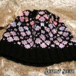 MHM Black Beanie with Pink & Purple Pattern