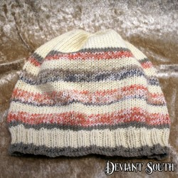 MHM Cream, Grey & Peach Striped Slouchy Beanie