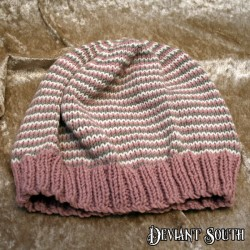 MHM Pink, Cream and Grey Gradient Stripes Slouchy Beanie
