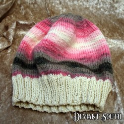 MHM Pink, White & Grey Slouchy Beanie