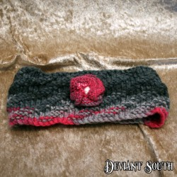 MHM Pink & Grey Headband with detachable flower