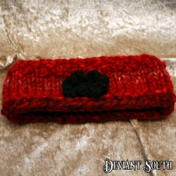 MHM Chunky Red Headband with Black detachable flower