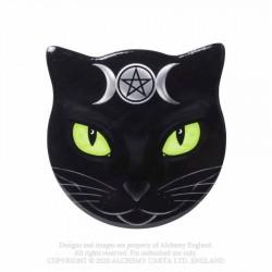 Alchemy Gothic CC16 Triple Moon Cat - Cat Shaped Individual Ceramic Coaster