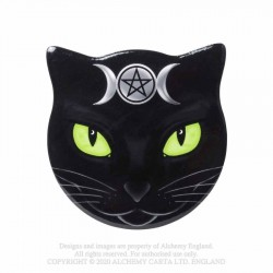 New Release! Alchemy Gothic CC16 Triple Moon Cat - Cat Shaped Individual Ceramic Coaster
