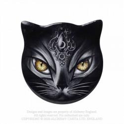 Alchemy Gothic CC17 Sacred Cat - Cat Shaped Individual Ceramic Coaster