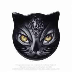 New Release! Alchemy Gothic CC17 Sacred Cat - Cat Shaped Individual Ceramic Coaster