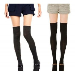 Black Mock Thigh High Over-the-knee Pantyhose Stockings - One Size Fits Most (Small)