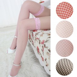 Fishnet Mesh Thigh High Stockings Pantyhose with Lace Trim - Size: SMALL / One Size