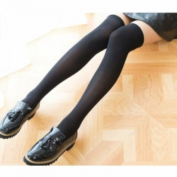 Black Thick Thigh High Over-the-Knee Pantyhose Stockings - One Size / Small