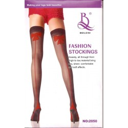 Beileisi Fashion Stockings Thigh High - White with Red Bows & Hearts