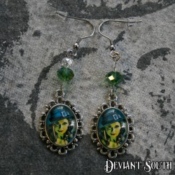 Deviant South Cabochon Earrings (pair) - Half-face Sugar Skull Lady Skeleton Hand