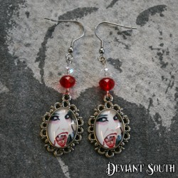 Deviant South Cabochon Earrings (pair) - Vampire Lady